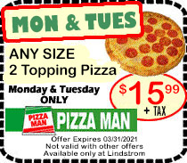 Lindstrom Falls Pizza Man 16 inch Pizza Coupon