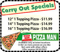 Pizza Man Carry Out Specials Coupon